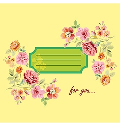 Postcard for you with flowers vector