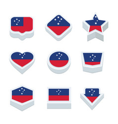 samoa flags icons and button set nine styles vector image