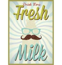 Vintage milk poster typography vector image vector image
