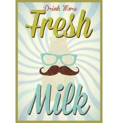 Vintage milk poster typography vector