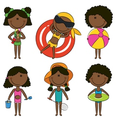 Cute happy African-American girls vector image
