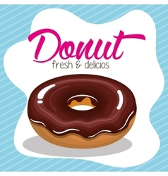 donut cream chocolate fresh and delicious graphic vector image