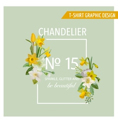 Floral Spring Graphic Design - with Narcissus vector image vector image