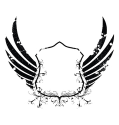 grunge retro emblem with shield vector image vector image