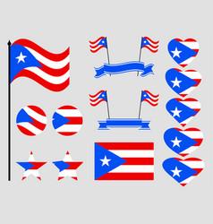 puerto rico flag set symbols flag in heart vector image