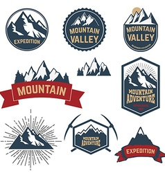 Set of adventure expedition mountain labels and vector image