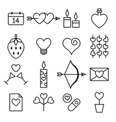 valentine line icon set vector image vector image