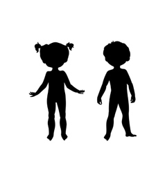 Black silhouettes of cute kids vector image