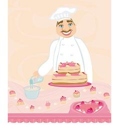 chef preparing a cake vector image vector image