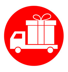 delivery gift sign white icon in red vector image