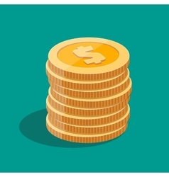 gold stack of dollar coins vector image vector image