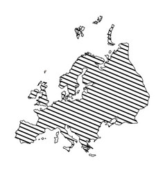 monochrome silhouette of europe map to striped vector image