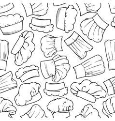 Vintage seamless chef hats pattern vector image