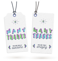 vintage thank you tags vector image
