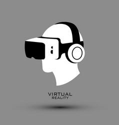 virtual reality headset icon flat icon logo vector image vector image