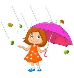 Girl with umbrella vector image