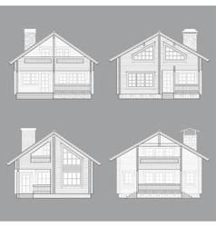 Log house line vector image