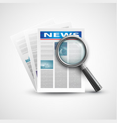 Magnifier and newspaper vector image