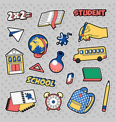 stickers education school theme with books vector image vector image