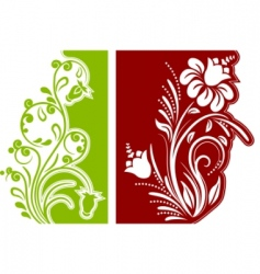 two floral design elements vector image vector image
