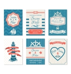 Wedding Invitation Cards In Nautical Style vector image vector image