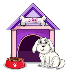 A dog outsite the purple house vector image