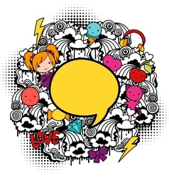 Abstract background with cute kawaii doodles vector image