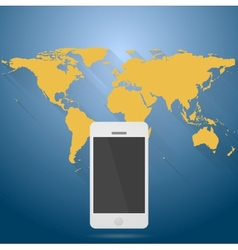 Abstract flat world map with mobile phone vector