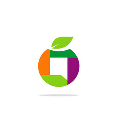 abstract shape fruit logo vector image
