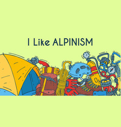 Alpinism mountain climbing and mountaineering vector