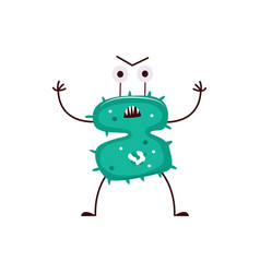 Angry bacteria monster with scary face isolated on vector