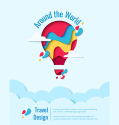 around world paper art hot air balloon concept vector image