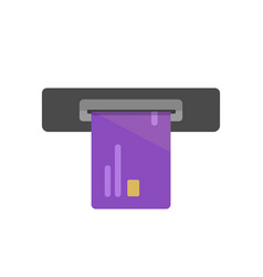 Atm cash slot icon with credit or debit vector
