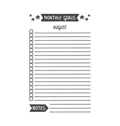 August monthly goals template vector