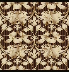 baroque gold 3d seamless pattern striped textured vector image
