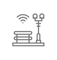 bench with a lantern wi-fi zone smart park line vector image