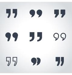 black quote icon set vector image