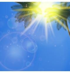 Blue sky with summer sun burst background vector image