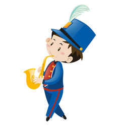 Boy in blue uniform playing saxophone vector
