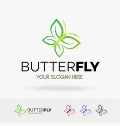 butterfly logo modern style isolated on white vector image