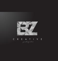 Bz b z letter logo with zebra lines texture vector