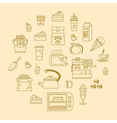 cafe equipment outline icons design collection 3 vector image