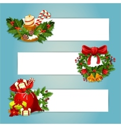 Christmas banner set with gift and holly wreath vector