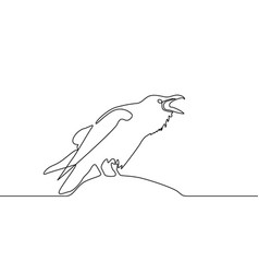 continuous line drawing raven logo concept vector image