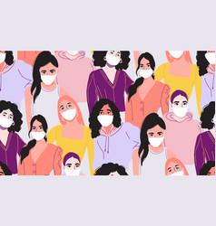 coronavitus mask black woman in medical mask vector image