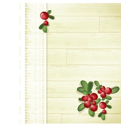 Cranberries at Wooden Background vector