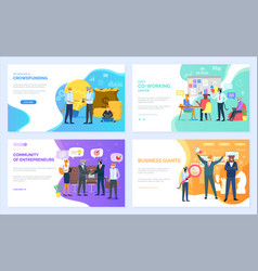 Crowdfunding or co-working business entrepreneurs vector