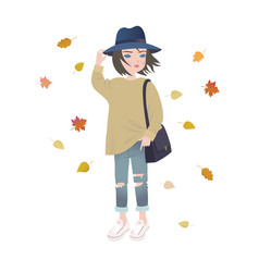 cute fashion cartoon girl in trendy autumn outfit vector image