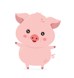Cute smiling happy funny little pig vector