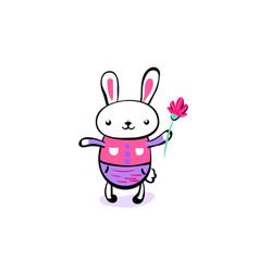cute smiling kawaii easter bunny keep flower vector image